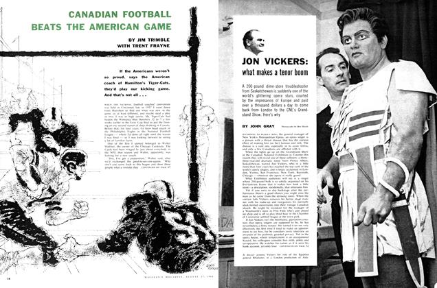 Article Preview: CANADIAN FOOTBALL BEATS THE AMERICAN GAME, August 1960 | Maclean's