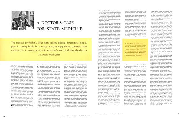 Article Preview: A DOCTOR'S CASE FOR STATE MEDICINE, August 1960 | Maclean's