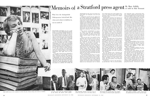 Article Preview: Memories of a Stratford press agent, September 1960   Maclean's