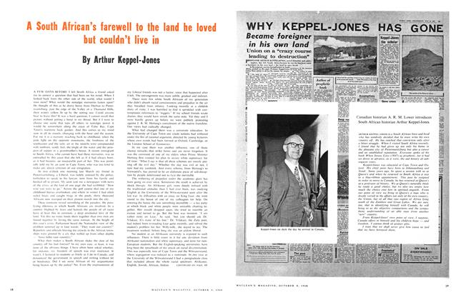 Article Preview: A South African's farewell to the land he loved but couldn't live in, October 1960 | Maclean's