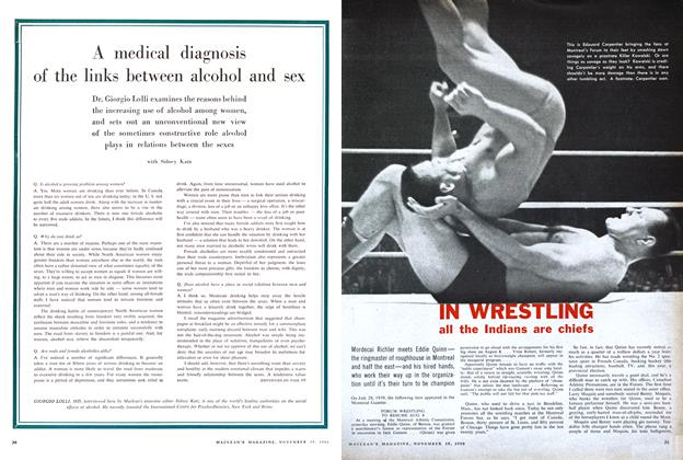 Article Preview: A medical diagnosis of the links between alcohol and sex, November 1960 | Maclean's