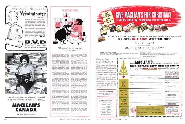 Article Preview: The man with the lid on his stomach, November 1960 | Maclean's