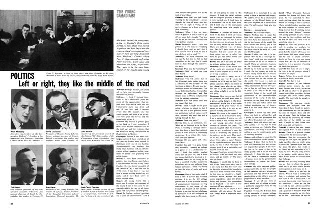 Article Preview: POLITICS Left or right, they like the middle of the road, March 1961 | Maclean's