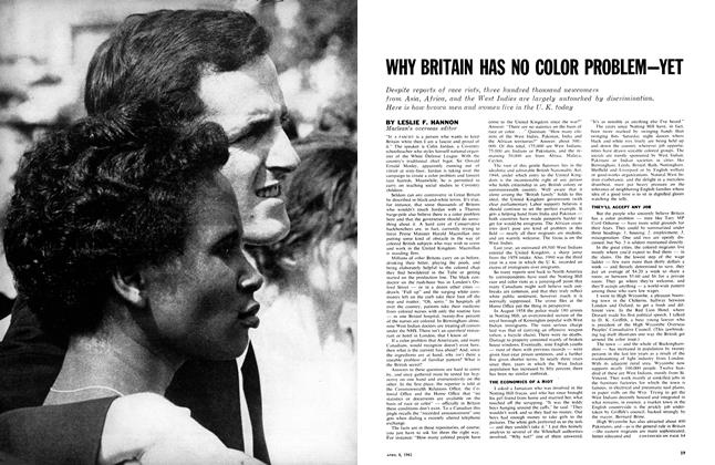 Article Preview: WHY BRITAIN HAS NO COLOR PROBLEMYET, April 1961 | Maclean's