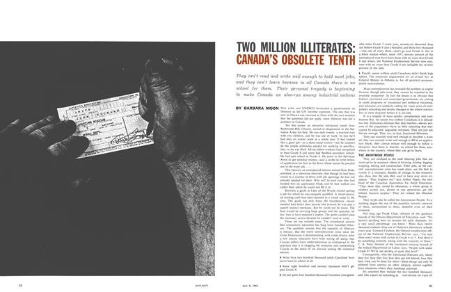 Article Preview: TWO MILLION ILLITERATES: CANADA'S OBSOLETE TENTH, May 1961 | Maclean's