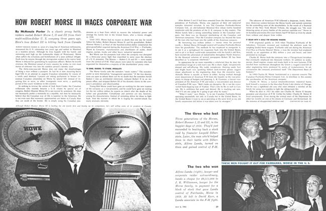 Article Preview: HOW ROBERT MORSE III WAGES CORPORATE WAR, May 1961 | Maclean's