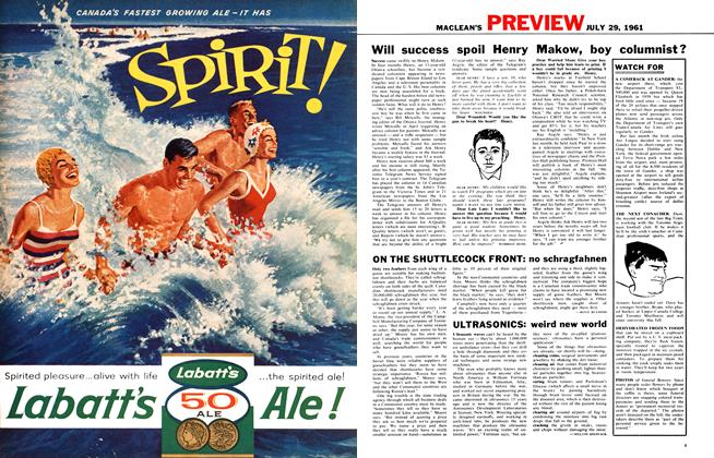 Article Preview: ON THE SHUTTLECOCK FRONT: no schragfahnen, July 1961 | Maclean's