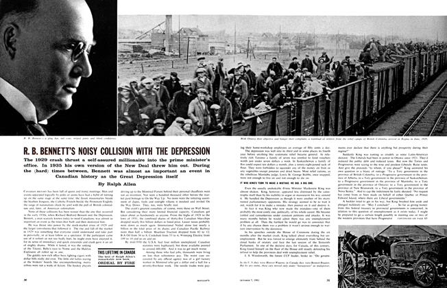 Article Preview: R. B. BENNETT'S NOISY COLLISION WITH THE DEPRESSION, October 1961 | Maclean's