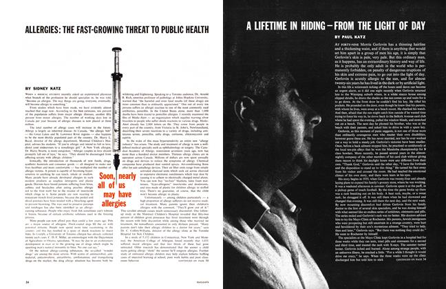 Article Preview: ALLERGIES: THE FAST-GROWING THREAT TO PUBLIC HEALTH, October 1961 | Maclean's