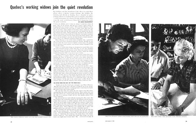 Article Preview: Quebec's working widows join the quiet revolution, December 1961 | Maclean's