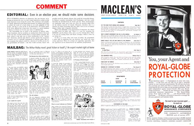 Article Preview: EDITORIAL, January 1962 | Maclean's
