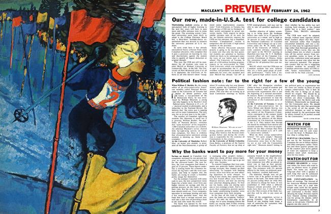 Article Preview: Our new, made-in-U.S.A. test for college candidates, February 1962 | Maclean's
