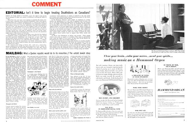 Article Preview: MAILBAG, March 1962 | Maclean's