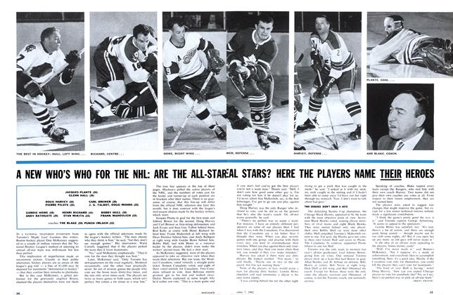 Article Preview: A NEW WHO'S WHO FOR THE NHL: ARE THE ALL-STAR EAL STARS? HERE THE PLAYERS NAME THEIR HEROES, April 1962 | Maclean's