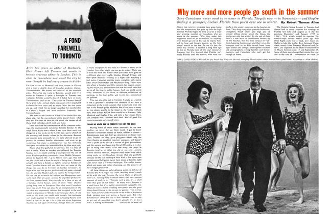 Article Preview: A FOUND FAREWELL TO TORONTO, August 1962 | Maclean's
