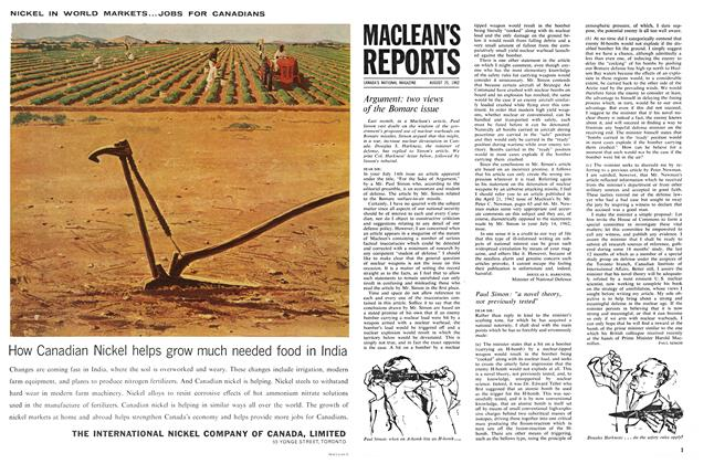 Article Preview: Argument: two views of the Bomarc issue, August 1962 | Maclean's
