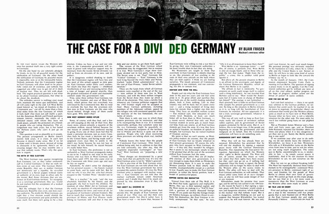 Article Preview: THE CASE FOR A DIVI DED GERMANY, January 1963 | Maclean's