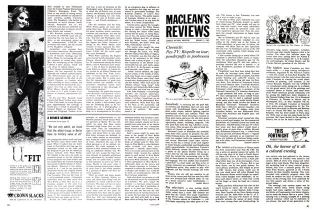Article Preview: Chronicle: Pay-TV; Riopelle on tour; powderpuffs in poolrooms, January 1963 | Maclean's