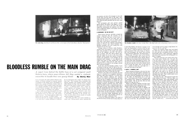 Article Preview: BLOODLESS RUMBLE ON THE MAIN DRAG, January 1963 | Maclean's