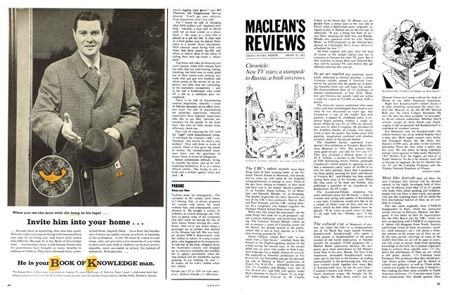 Article Preview: Chronicle: New TV stars; a stampede to Russia; book on crows, January 1963 | Maclean's