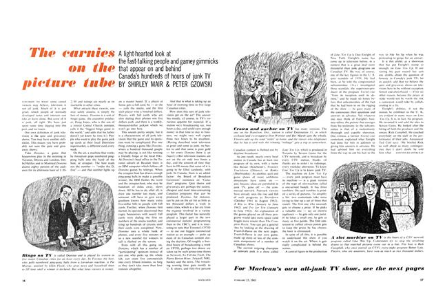 Article Preview: The carnies on the picture tube, February 1963 | Maclean's