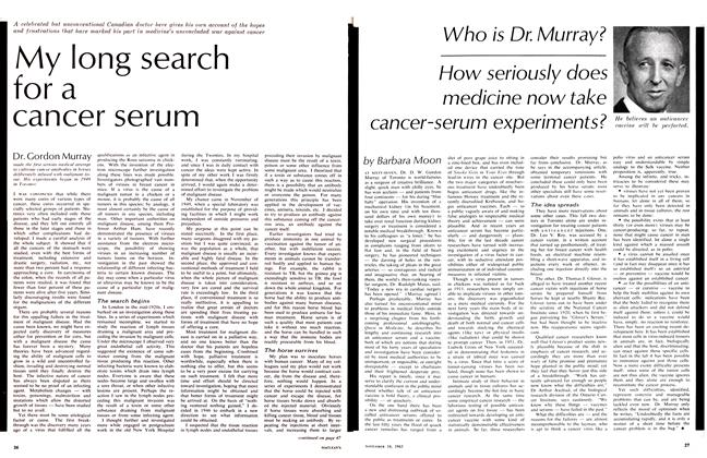 Article Preview: Who is Dr. Murray? How seriously does medicine now take cancer-serum experiments?, November 1963 | Maclean's