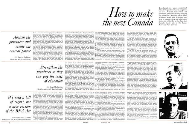 Article Preview: Strengthen the provinces so they can pay the costs of education, February 1964 | Maclean's