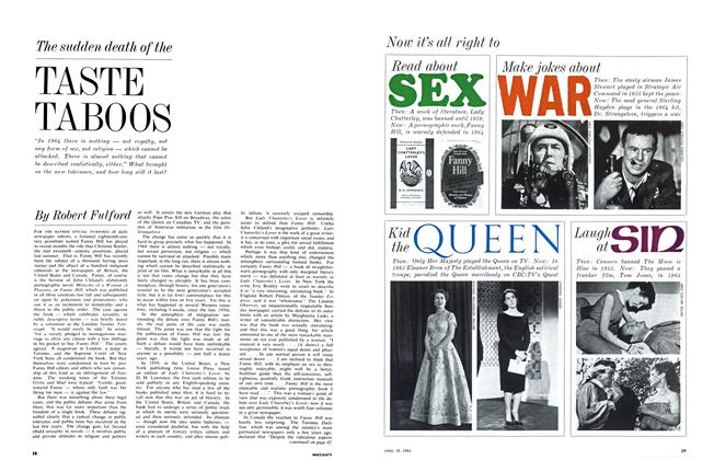 Article Preview: The sudden death of the TASTE TABOOS, April 1964 | Maclean's