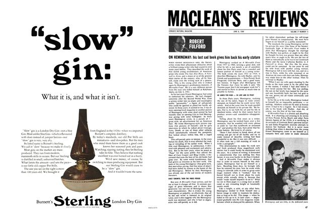 Article Preview: ON HEMINGWAY: his last sad book gives him baek his early stature, June 1964 | Maclean's