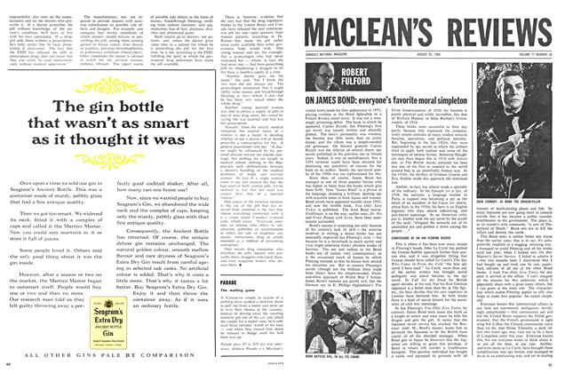 Article Preview: ON JAMES BOND: everyone's favorite moral simpleton, August 1964 | Maclean's