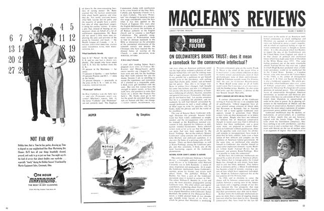 Article Preview: ON GOLDWATER'S BRAINS TRUST: does it mean a comeback for the conservative intellectual ?, October 1964 | Maclean's