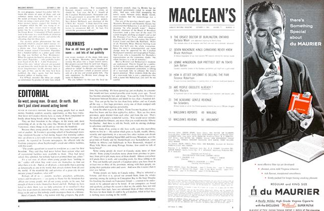 Article Preview: Go west, young man. Or east. Or north. But don't just stand around acting bored, October 1964 | Maclean's