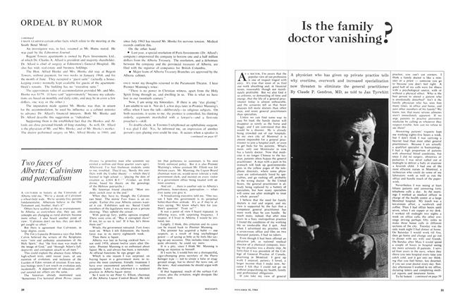 Article Preview: Is the family doctor vanishing?, November 1964 | Maclean's