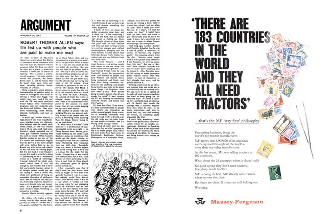 Article Preview: ROBERT THOMAS ALLEN says: I'm fed up with people who are paid to make me mad, November 1964 | Maclean's