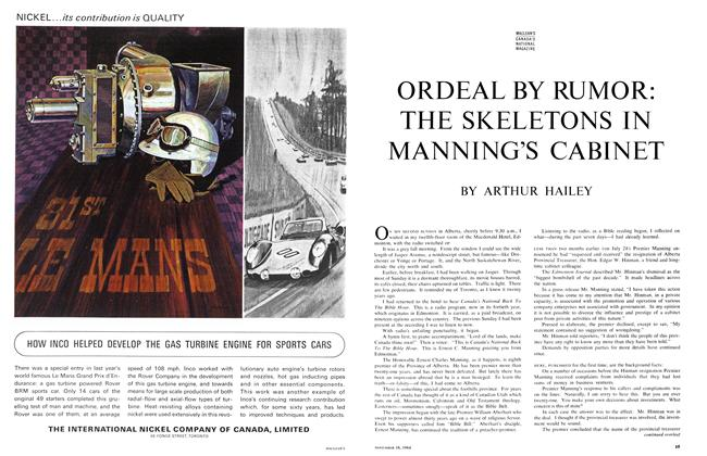 Article Preview: ORDEAL BY RUMOR: THE SKELETONS IN MANNING'S CABINET, November 1964 | Maclean's