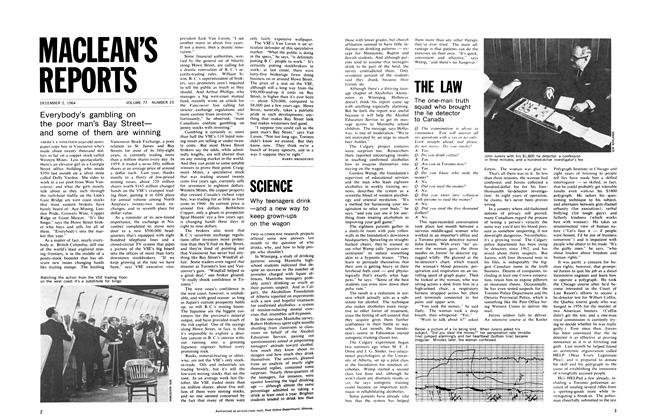 Article Preview: Everybody's gambling on the poor man's Bay Street— and some of them are winning, December 1964 | Maclean's