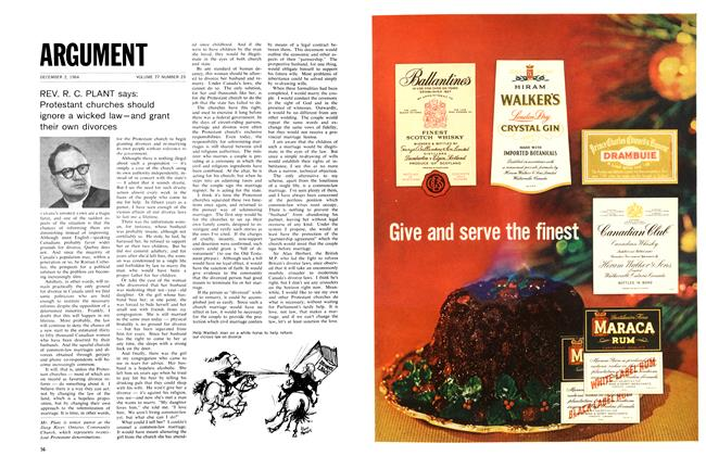 Article Preview: REV. R. C. PLANT says: Protestant churches should ignore a wicked law-and grant their own divorces, December 1964 | Maclean's