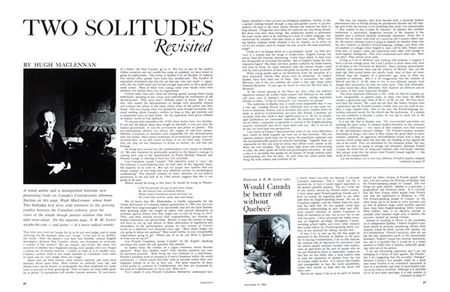 Article Preview: TWO SOLITUDES Revisited, December 1964   Maclean's