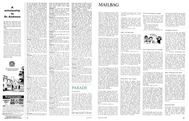 Article Preview: MAILBAG, February 1965 | Maclean's
