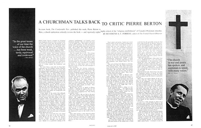 Article Preview: A CHURCHMAN TALKS BACK TO CRITIC PIERRE BERTON, February 1965 | Maclean's