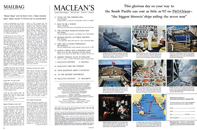 "Article Preview: ""Seven Days"" and its blunt critic / Does Canada back ""black racism""? / Crime and no punishment, March 1965 