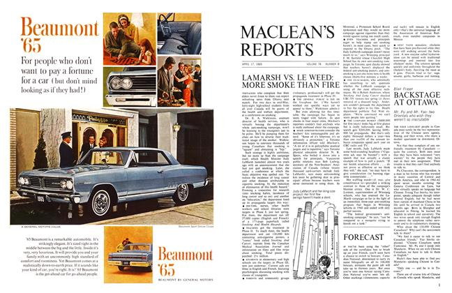 Article Preview: BACKSTAGE AT OTTAWA, April 1965 | Maclean's