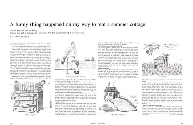 Article Preview: A funny thing happened on my way to rent a summer cage, June 1965 | Maclean's