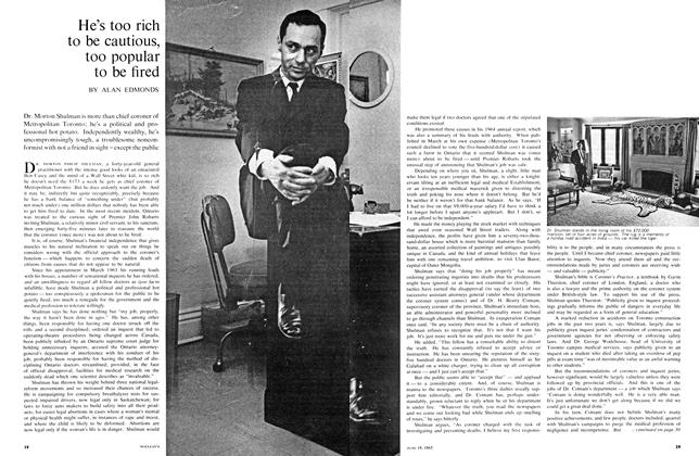 Article Preview: He's too rich to be cautious, too popular to be fired, June 1965 | Maclean's