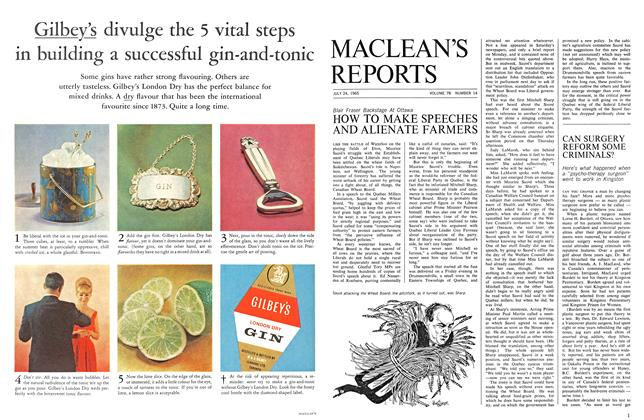 Article Preview: HOW TO MAKE SPEECHES AND ALIENATE FARMERS, July 1965 | Maclean's