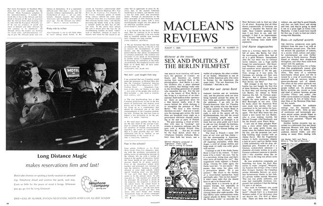 Article Preview: SEX AND POLITICS AT THE BERLIN FILMFEST, August 1965 | Maclean's