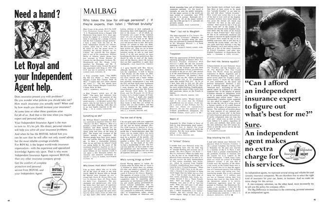 Article Preview: MAILBAG, September 1965 | Maclean's