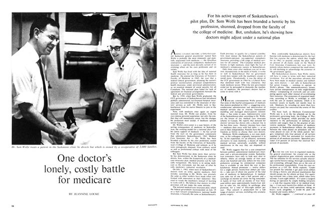 Article Preview: One doctor's lonely, costly battle for medicare, September 1965   Maclean's