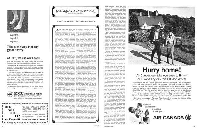 Article Preview: GOURMENT'S NOTEBOOK, October 1965 | Maclean's