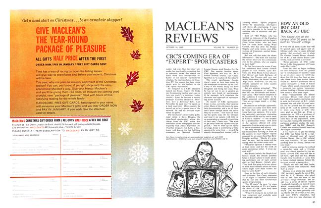 Article Preview: HOW AN OLD BOY GOT BACK AT UBC, October 1965 | Maclean's